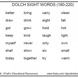 Dolch Sight Words 180-220